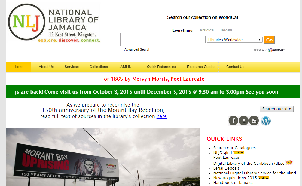 Facebook page of The National Library of Jamaica